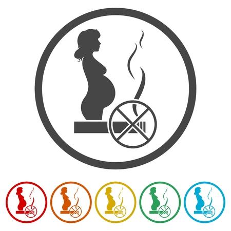 Stop smoking, poster pregnant woman silhouette icons set Illustration