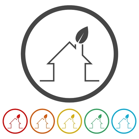 Eco house concept sign and icons set Иллюстрация