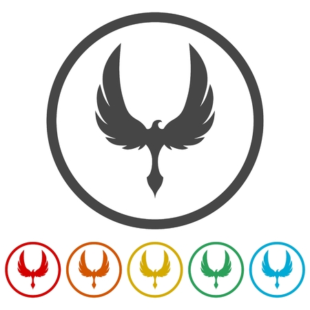Phoenix design icons set - Illustration Vettoriali