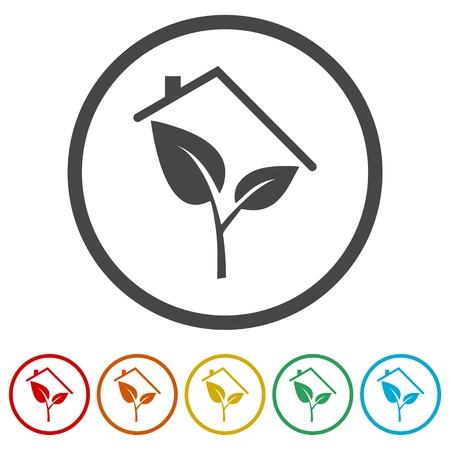 Eco house concept sign and icons set  イラスト・ベクター素材