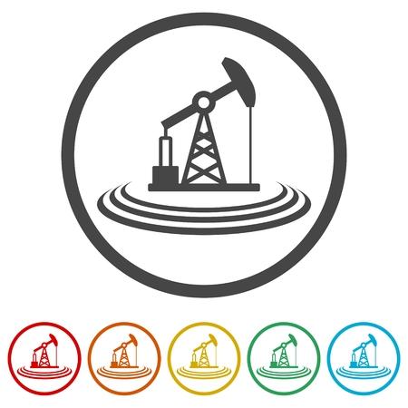 Oil pump icons set Vektorové ilustrace