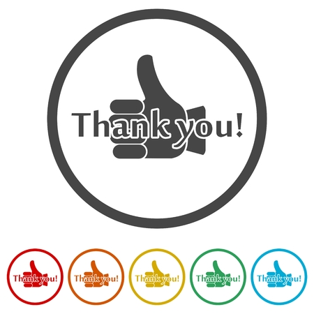 Thank you sign icons set