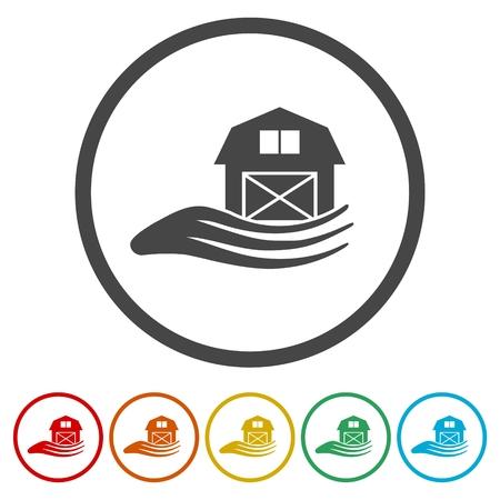 Barn & farm building icons set Illustration