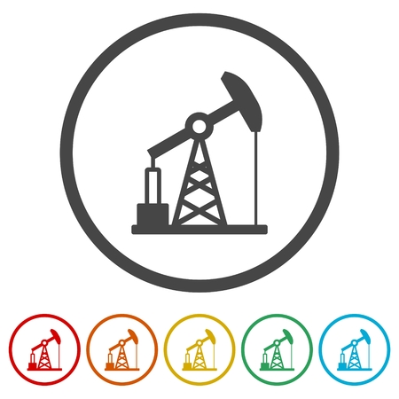 Oil pump icons set