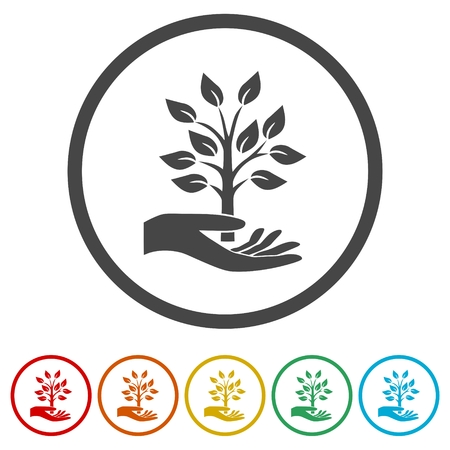 Hand with a tree symbol icons set - Illustration
