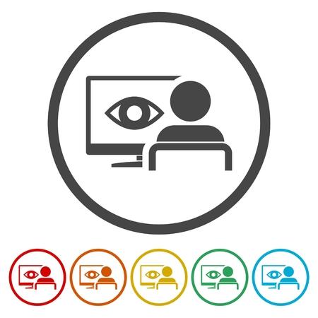 Cyber eye symbol icons set - Illustration