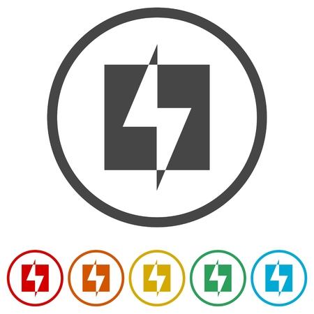 Conjunto de iconos de energía de energía de rayo