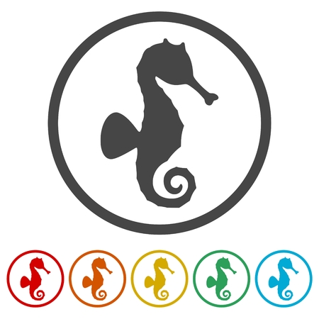 Sea horse vector icons set - illustration