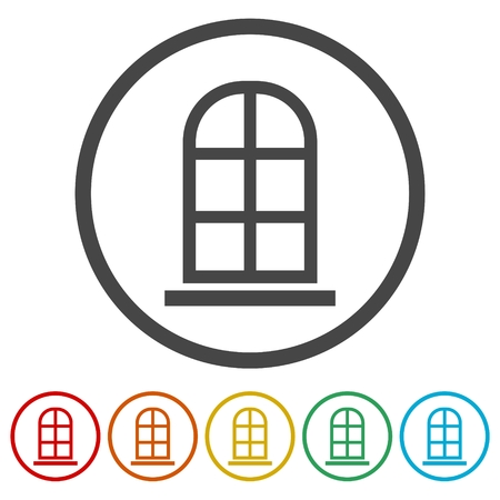 Window Icons set Flat Graphic Design Illustration