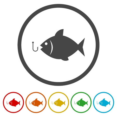Fish open mouth to swallow a hook icons set