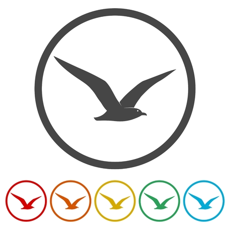 Seagull icons set - vector illustration Illustration