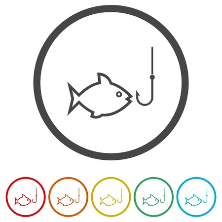 Fish and fish hook icons set - Illustration Ilustracja