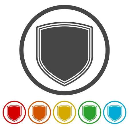 Shield seal frame icons set
