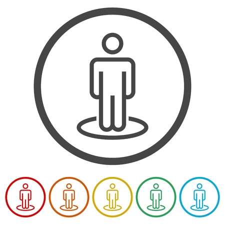 Street View icons set vector, person standing