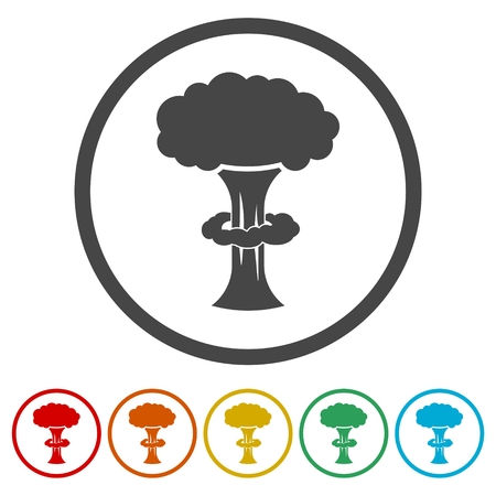Nuclear explosion icons set