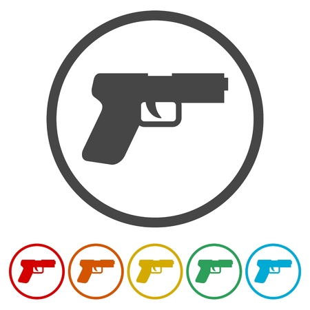 Gun icons set illustration