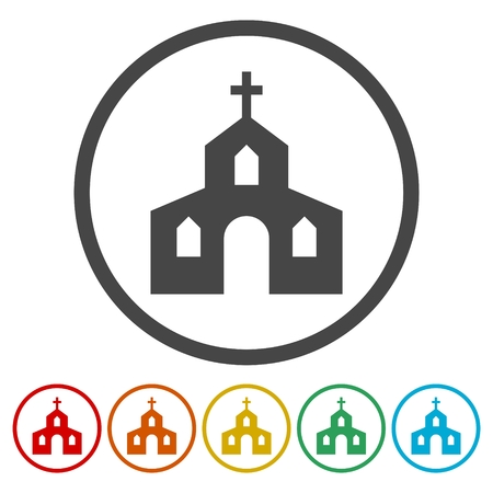 Church Icons set Flat Graphic Design - Illustration