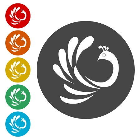Peacock icons set - vector Illustration Vectores