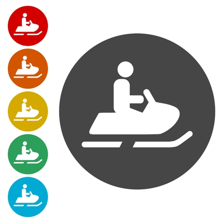 Snowmobiling Icons set - vector Illustration