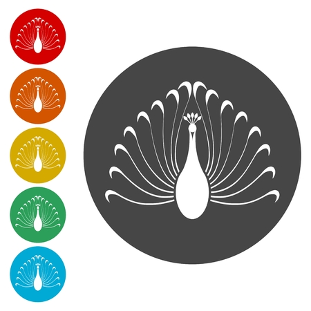 Peacock icons set - vector Illustration Çizim