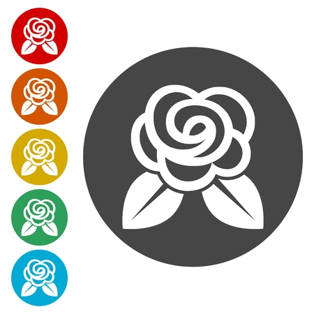 Rose Icons set Flat Graphic Design - Illustration