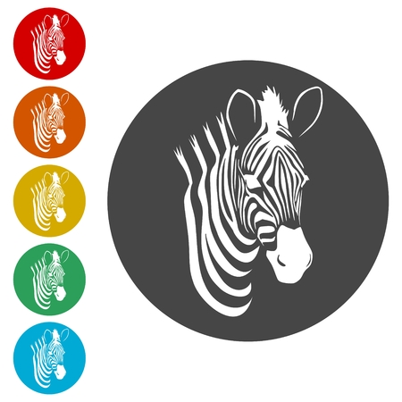 Zebra icons set - vector Illustration 矢量图像