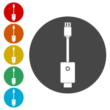 USB cable icons set