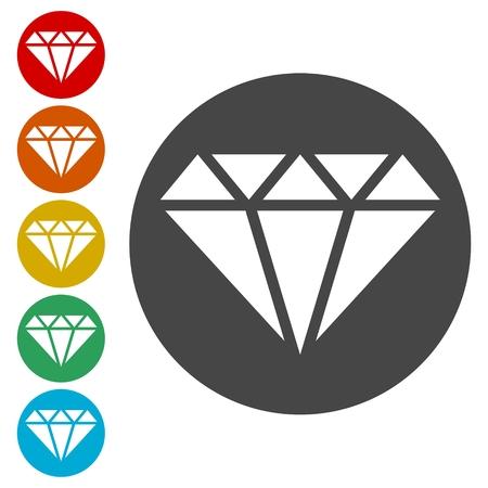 Ensemble d'icônes de diamant - illustration vectorielle
