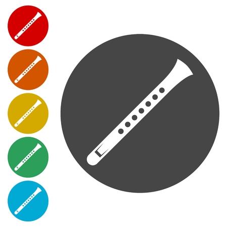 Flute icons set - vector Illustration