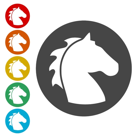 Vector illustration of horse head icons set 矢量图像