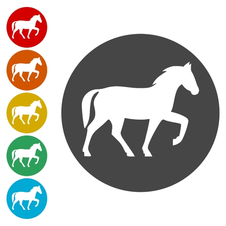 Horse icons set - vector Illustration 矢量图像