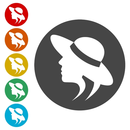 Woman in a hat - vector icons set