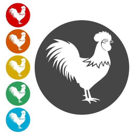 Rooster icons set - vector Illustration