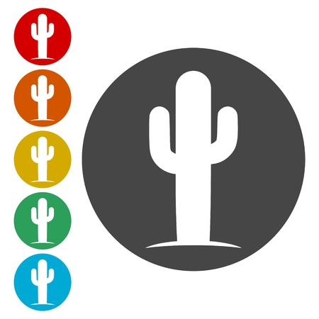 Cactus Collection icons set - Vector Illustration Çizim