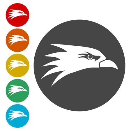 Conjunto de iconos de cabeza de águila - Ilustración Ilustración de vector