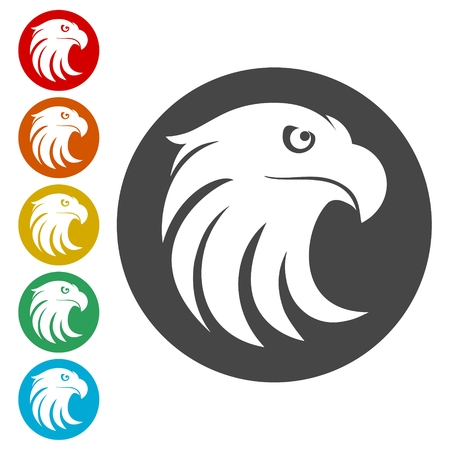 Eagle head icons set - Illustration Çizim