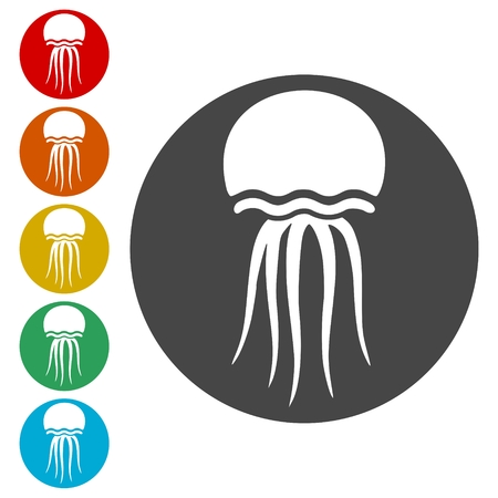 Isolated jellyfish icons set - Illustration Çizim