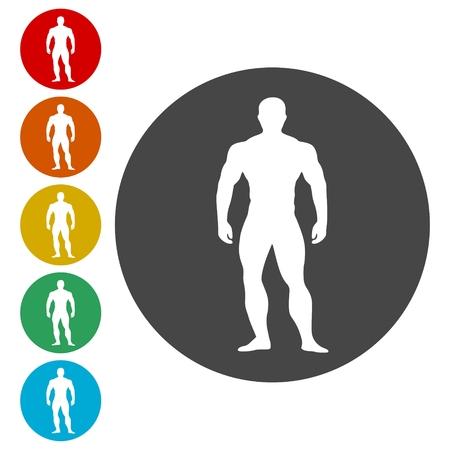 Strong man icons set - Illustration Vektorové ilustrace
