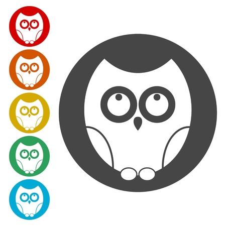 Owl icons set - Illustration