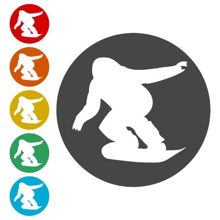 Jeu d'icônes de snowboard - illustration vectorielle Vecteurs