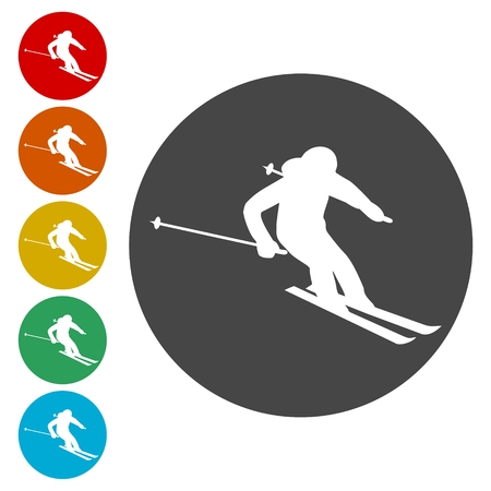 Ski icons set. Vector illustration Vettoriali