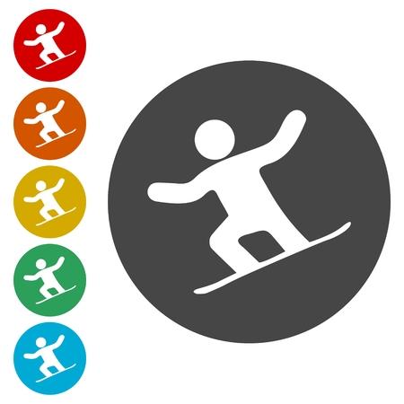 Snowboard Icons set - vector Illustration