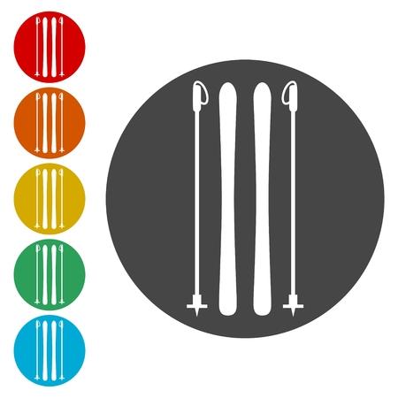 Ski icons set. Vector illustration