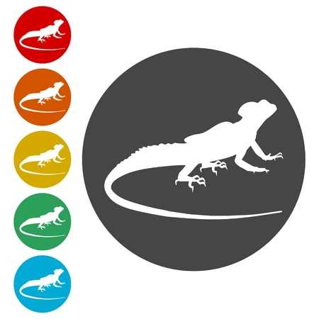 Lizard icons set vector - Illustration 스톡 콘텐츠 - 107605717