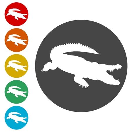 Crocodile icons set - Illustration