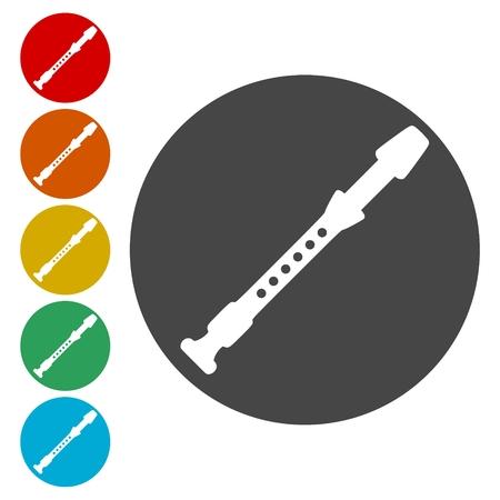 Flauto Silhouette set di icone - illustrazione Vettoriali