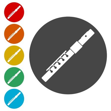 Flauto Silhouette set di icone - illustrazione