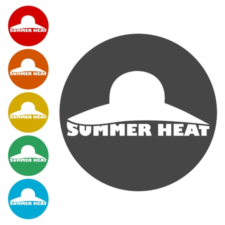 Summer heat icons set - Illustration Çizim
