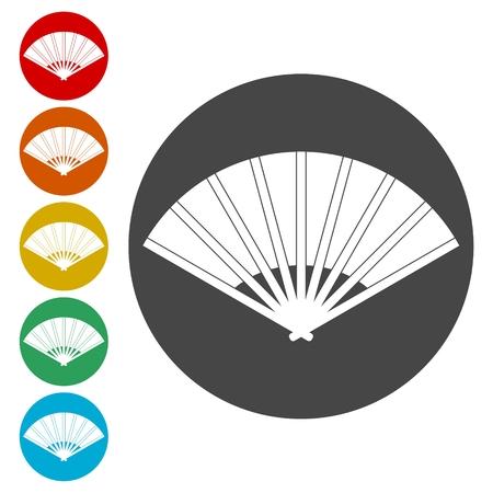 Japanese Folding Fan icon set - Illustration