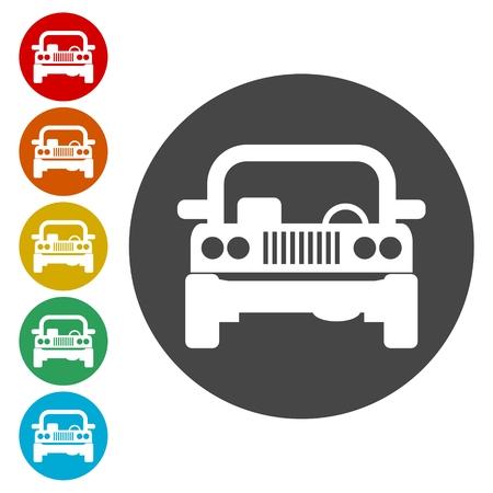 Offroad car icons set - Illustration